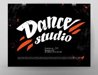 Vector dance studio logo. Dance grunge background. Music. Rhythm. Dance floor, dance pole icon. Paint drops splattered. Modern street dance poster style. Ballet.