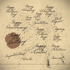 Collection of hand written congratulations. Hand drawn font, text message, lettering. Holiday, congratulation card element. Mother's father's valentine's day.