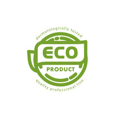 Vector flat eco product emblem. Ecological cosmetic sign. Eco badge. Natural product line. Nature certificate quality. Leaf icon. Eco symbol. Natural cosmetics. Eco friendly logo.