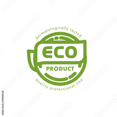 Vector flat eco product emblem  Ecological cosmetic sign