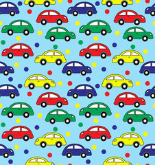 Seamless pattern of kids' transport, for packaging, tissue