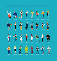 Vector flat profession characters. Human icon. Profession icon. Friendly people icon. Woman icon. Lady icon. Man icon. Girl icon. Boy icon. Icon set.