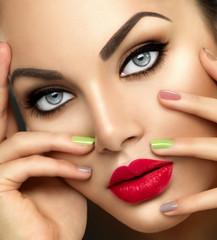 Foto op Canvas Beauty Beauty fashion woman with vivid makeup and colorful nailpolish