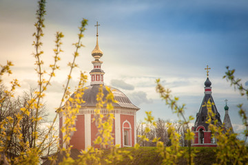 Russian Orthodox church in the sunlight. Tourism in Russia, land