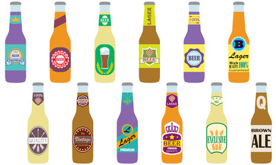 Beer bottles icon set. Beer bottles with label isolated on white background. Colorful vector illustration in flat style.