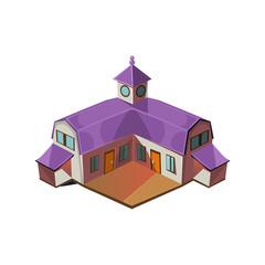 Big Farm House Simplified Cute Illustration