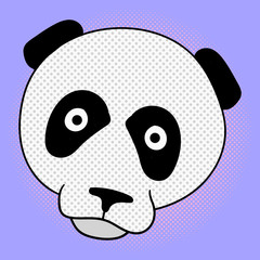 Panda pop art vector illustration