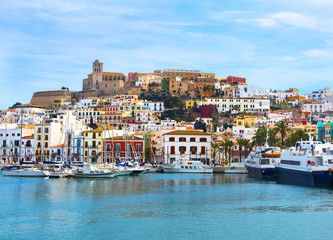 Colorful Ibiza Old Town Buildings and Port