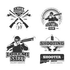 Retro weapons, shooting vector labels, emblems, badges, logos. Shooting weapon, shooting badge, shooting emblem and shooting label, shooting club illustration