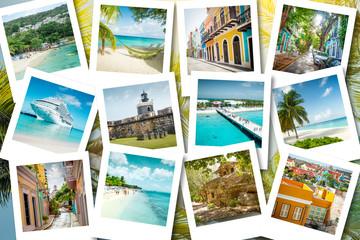 Poster Caraïben Cruise memories on polaroid photos - summer caribbean vacations