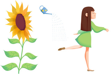 Creative Illustration and Innovative Art: Object Set: Girl,Watering Can,SunFlower isolated on White Background.Realistic Fantastic Cartoon Style Artwork Scene, Wallpaper, Story Background, Card Design