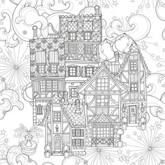 Seamless pattern cute fairy tale town doodle