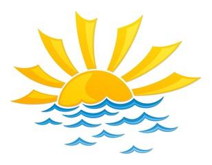 sun dawn Logo in the sea.