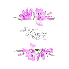 Greeting card  with pink watercolor lilies. This background can be used as greeting card, template for invitation card and so on.
