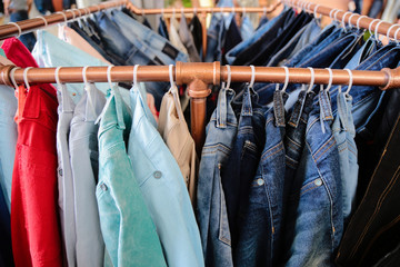 jeans on rack,  Multi colored jeanswear