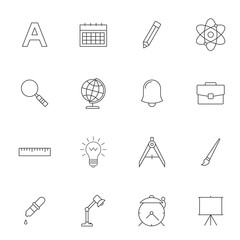 School education outline icons