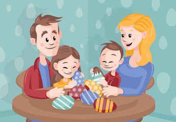Cartoon Vector Family Celebrating Easter at Home