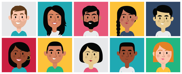 Set of Diverse Avatars for Profile Pictures. Different Nationalities, Clothes and Hair Styles. Cute, Flat Cartoon Style