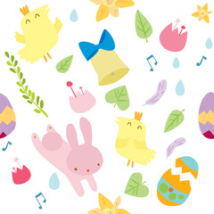Vector seamless pattern on Easter theme. Easter background with bunny, chicks, eggs and flowers.