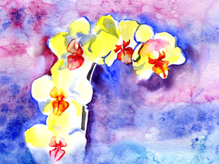 Watercolor yellow summer orchid on violet