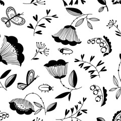 doodle decorative seamless background with flowers, bugs and butterfly