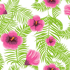 Tropical jungle palm leaves and hibiscus vector pattern background. Exotic nature pattern for fabric, wallpaper or apparel.