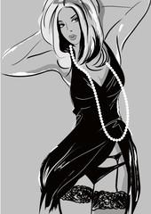 Fashion model.  Black and white sketch. Vector illustration.