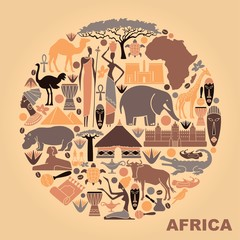 Symbols of Africa in the form of a circle