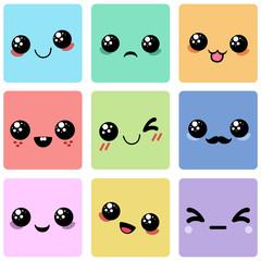 Cartoon faces. Set