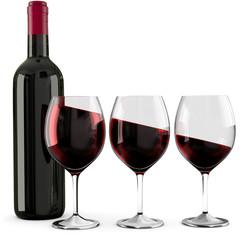 3d Weinprobe mit Rotwein.Wein trinken ist ein Genuss.