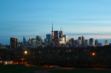 The Toronto, Canada skyline at night from Riverdale Park