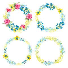 Set frame wreath  Watercolor vector illustretion