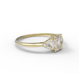 Ring wiith diamond. 3D illustration