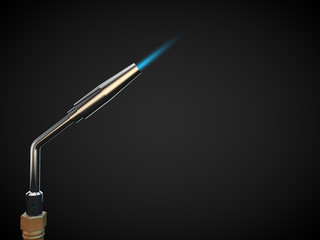 close up of metal cutting torch industry fire blue flame