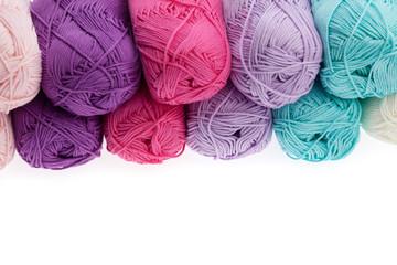 Colorful wool yarn hanks