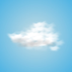 Cloud in a realistic style on a blue background. Vector illustration