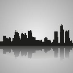 Black silhouette of Detroit with reflection. Vector illustration