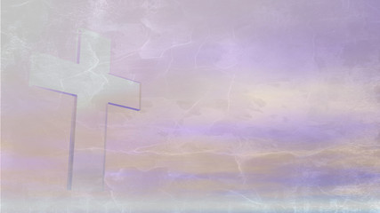 A Christian Cross made of crystal against a pastel sky with sun light on a texture.