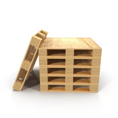 Wooden Pallets Stacked On Top Of One Another isolated on White