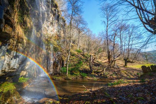 Rainbow in a waterfall