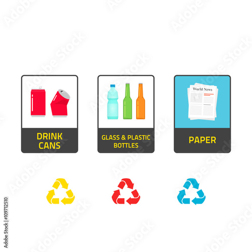 Stickers for recycling trash bins vector illustration isolated on white background recycle labels for waste