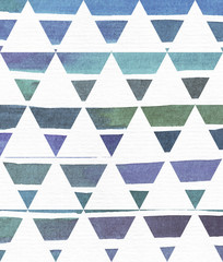 Blue and purple illustration, cool and branding freehand texture based on watercolor gradient stripes in classic equilateral triangles. Large, grainy, bright image on white paper with imperfections.