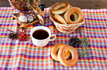 Traditional Russian samovar with bagels.