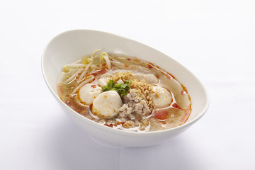 noodle with meat ball on white background, Thai Food