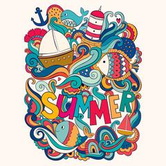 Vector colorful illustration with summer symbols. Cartoon summer design