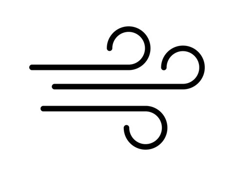 Blowing wind / windy line art icon for apps and websites