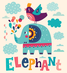 Funny cartoon illustration with cute elephant and bird