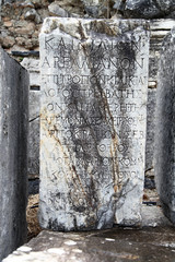a historical marble tombstone in Ephesus. Ephesus was an ancient Greek city on the coast of Ionia, three kilometers southwest of present-day Selçuk in İzmir Province, Turkey.