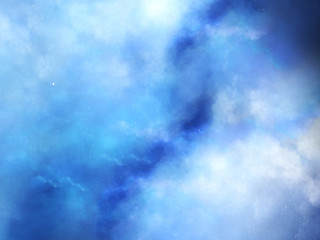 Blue fog in deep space