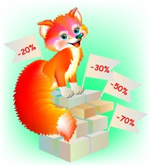 Happy fox sitting on boxes with shopping, vector cartoon image.